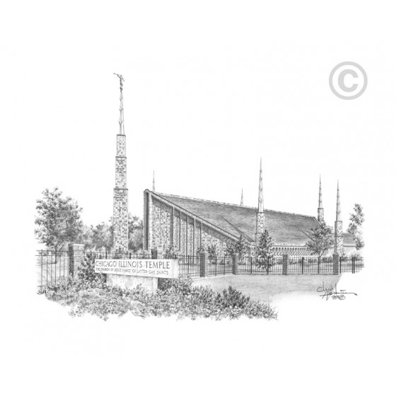Chicago Illinois Temple Drawing