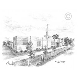 Detroit Michigan Temple Drawing
