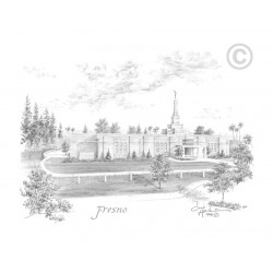 Fresno California Temple Drawing