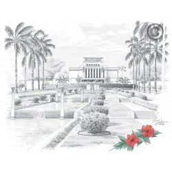 Laie Hawaii Temple Drawing