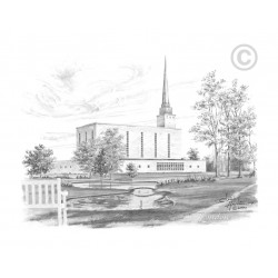 London England Temple Drawing