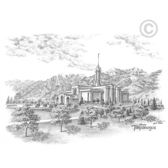 Mount Timpanogos Utah Temple Drawing