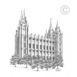 "Salt Lake Temple ""Hand"" Drawing"