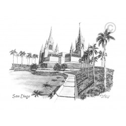 San Diego California Temple Drawing