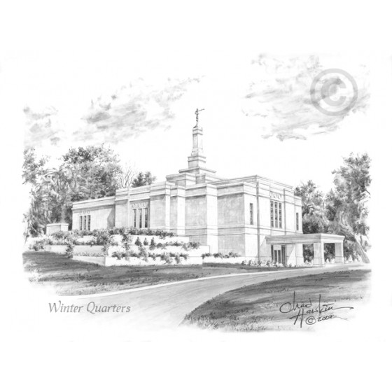Winter Quarters Nebraska Temple Drawing